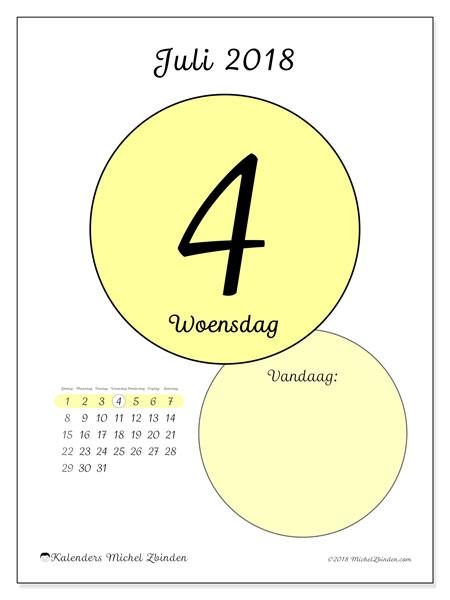 Kalender juli 2018 (45-4ZZ). Kalender voor de dag om gratis te printen.
