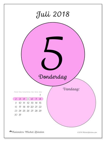 Kalender juli 2018 (45-5MZ). Dagelijkse kalender om gratis te printen.