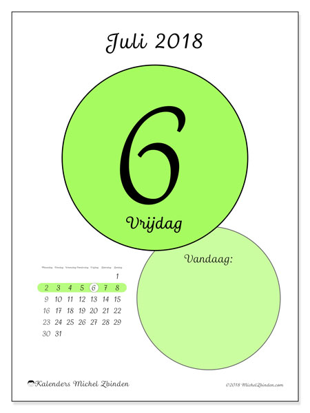 Kalender juli 2018 (45-6MZ). Kalender voor de dag om gratis te printen.