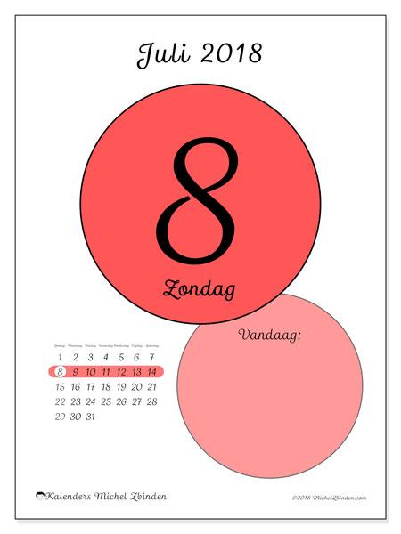 Kalender juli 2018 (45-8ZZ). Dagelijkse kalender om gratis te printen.