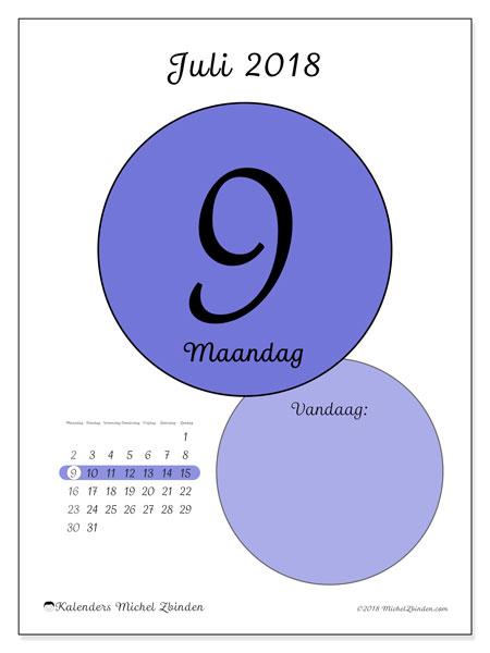 Kalender juli 2018 (45-9MZ). Kalender voor de dag om gratis te printen.