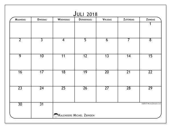 Kalender  juli 2018, 51MZ