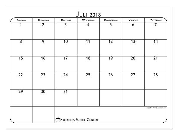 Kalender  juli 2018, 51ZZ