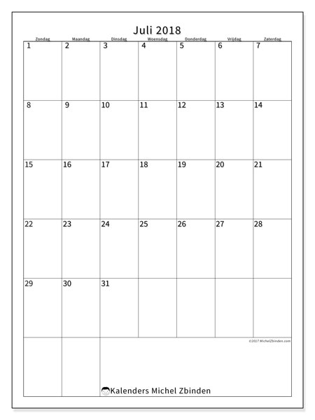 Kalender  juli 2018, 52ZZ
