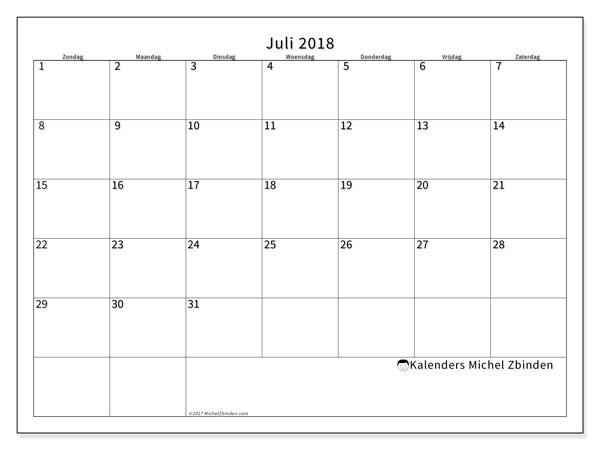 Kalender juli 2018 (53ZZ). Maandkalender om gratis te printen.