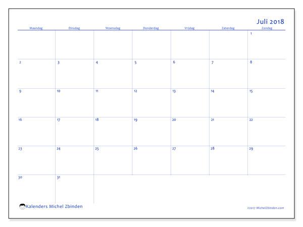 Kalender juli 2018 (55MZ). Kalender om gratis te printen.