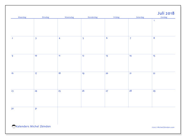 Kalender juli 2018 (55MZ). Gratis afdrukbare kalender.