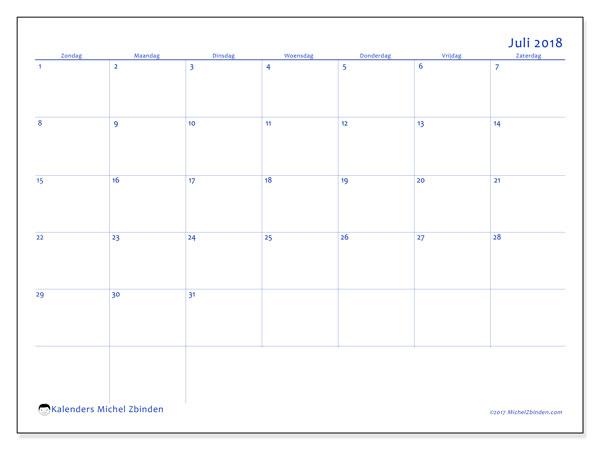 Kalender juli 2018 (55ZZ). Gratis afdrukbare kalender.