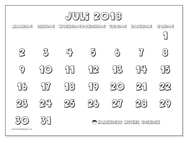 Kalender juli 2018 (56MZ). Gratis printbare kalender.