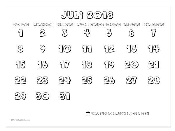 Kalender juli 2018 (56ZZ). Maandkalender om gratis te printen.