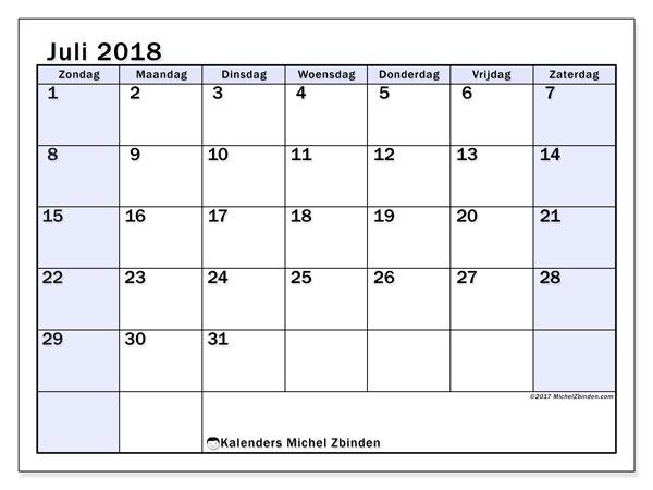 Kalender juli 2018 (57ZZ). Kalender om gratis af te drukken.