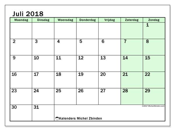 Kalender juli 2018 (60MZ). Maandkalender om gratis te printen.