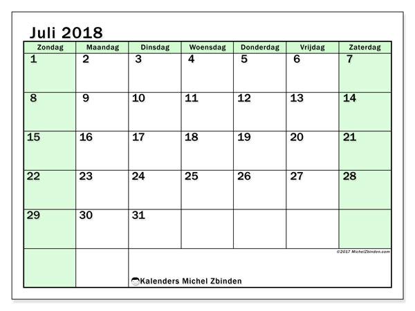 Kalender juli 2018 (60ZZ). Gratis printbare kalender.