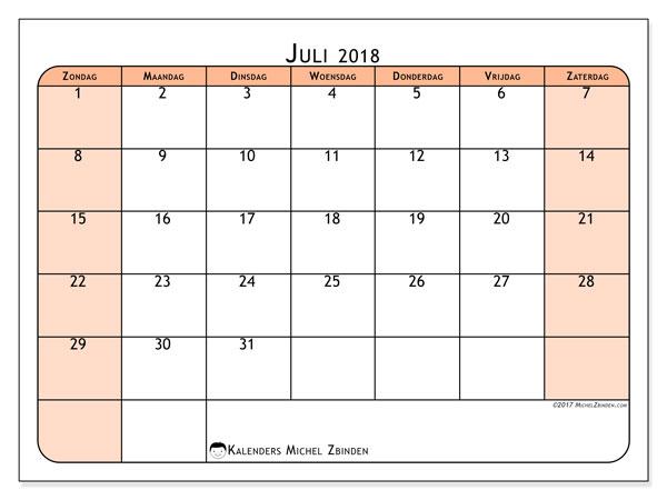 Kalender juli 2018 (61ZZ). Kalender om gratis te printen.