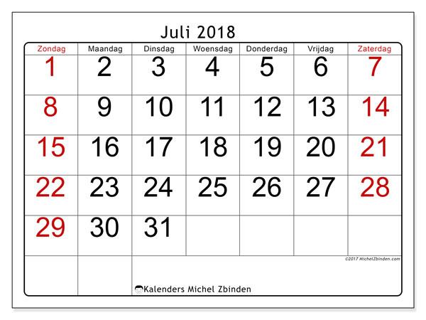 Kalender juli 2018 (62ZZ). Maandkalender om gratis te printen.