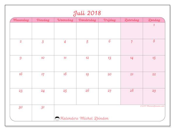 Kalender juli 2018 (63MZ). Schema om gratis te printen.