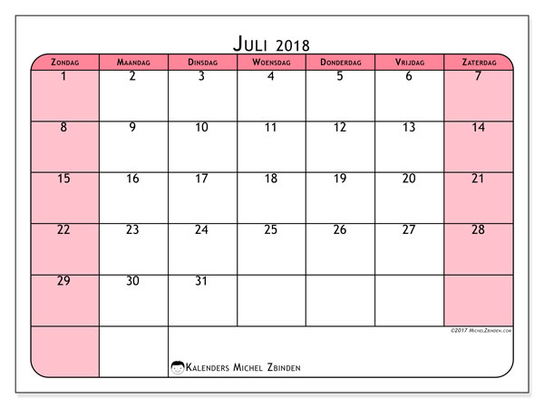 Kalender juli 2018 (64ZZ). Gratis printbare kalender.