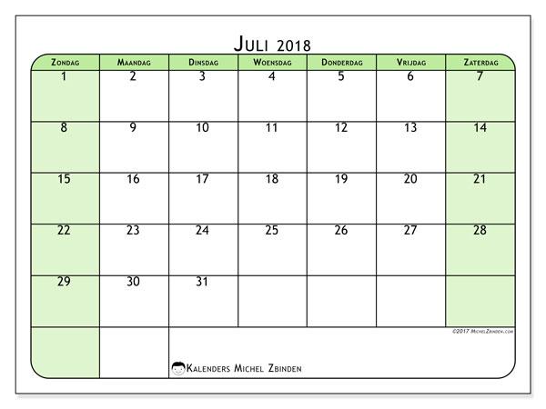 Kalender juli 2018 (65ZZ). Gratis kalender om af te drukken.