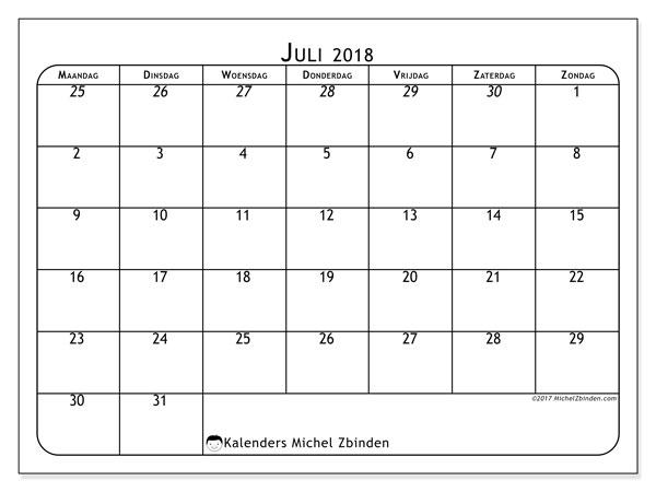 Kalender  juli 2018, 67MZ
