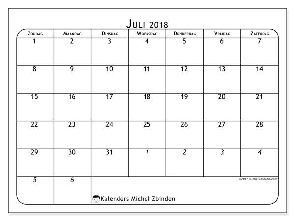 Kalender juli 2018 (67ZZ). Kalender om gratis te printen.