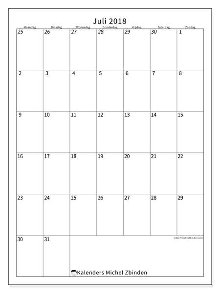 Kalender  juli 2018, 68MZ