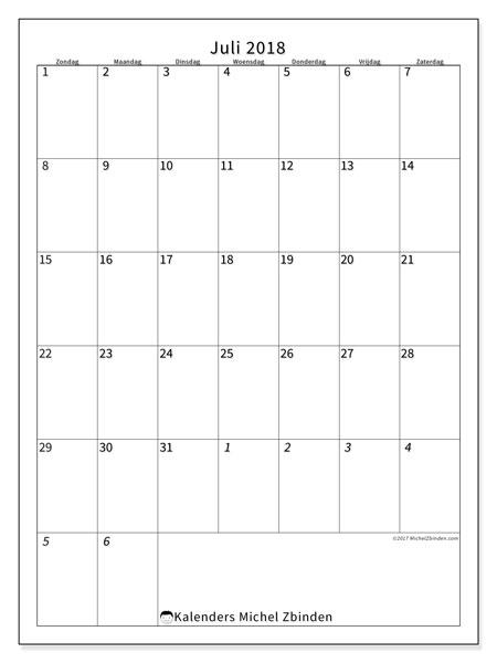 Kalender juli 2018 (68ZZ). Gratis kalender om af te drukken.