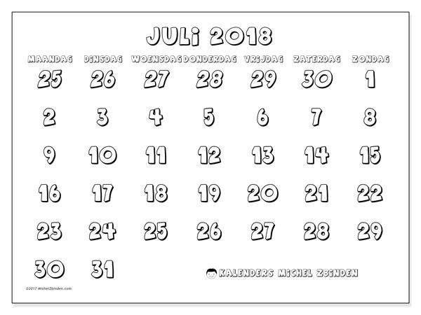Kalender juli 2018 (71MZ). Gratis afdrukbare kalender.