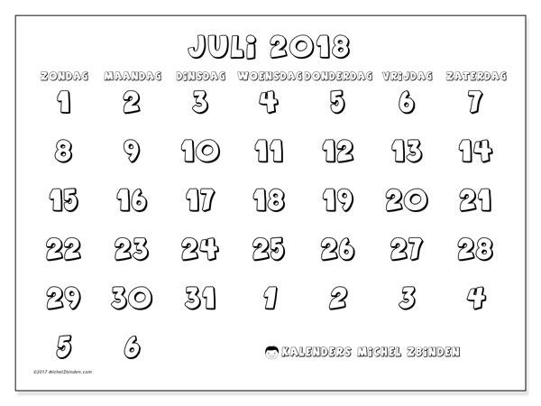 Kalender juli 2018 (71ZZ). Schema om gratis te printen.