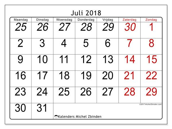 Kalender juli 2018 (72MZ). Gratis afdrukbare kalender.