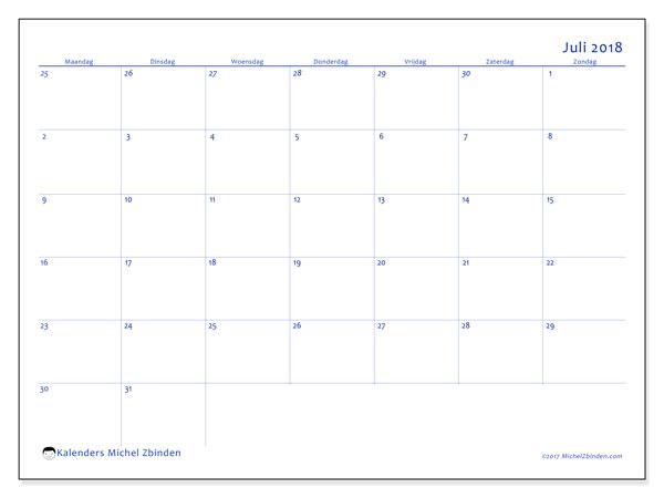 Kalender juli 2018 (73MZ). Schema om gratis te printen.