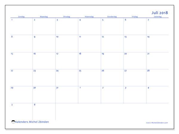 Kalender juli 2018 (73ZZ). Kalender voor de maand die gratis moet worden afgedrukt.