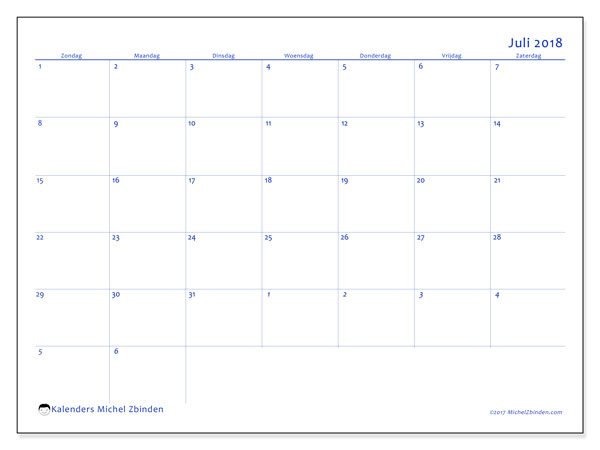 Kalender juli 2018 (73ZZ). Agenda om gratis te printen.