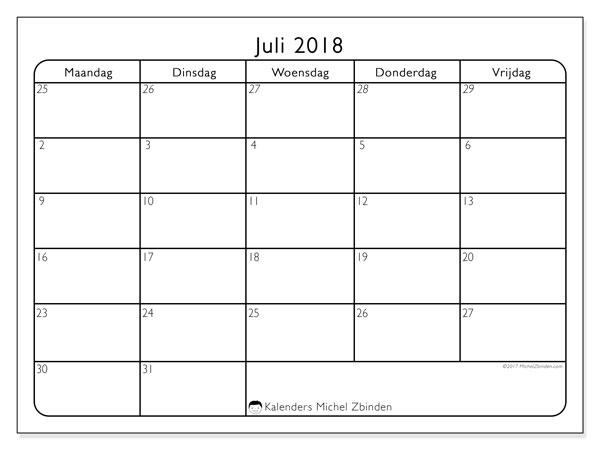Kalender juli 2018 (74MV). Kalender voor de maand die gratis moet worden afgedrukt.