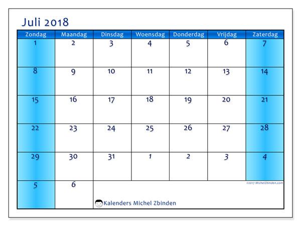 Kalender juli 2018 (75ZZ). Agenda om gratis te printen.