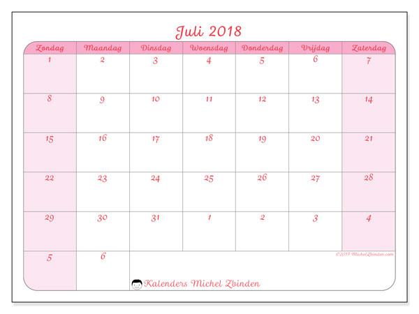 Kalender juli 2018 (76ZZ). Kalender om gratis af te drukken.