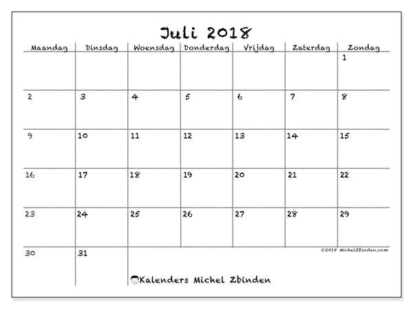 Kalender juli 2018 (77MZ). Kalender om gratis te printen.