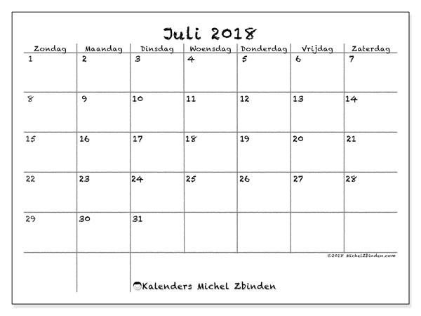 Kalender juli 2018 (77ZZ). Kalender om gratis af te drukken.
