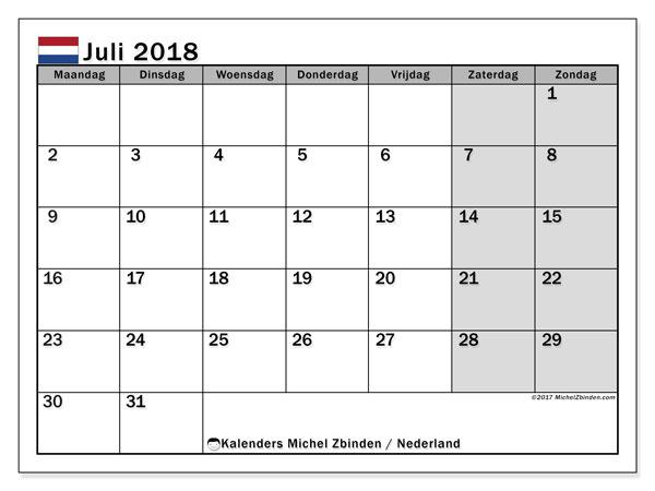 Kalender juli 2018 met de feestdagen van Nederland. Kalender voor de maand die gratis moet worden afgedrukt.