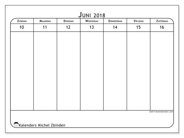 Kalender juni 2018 (43-3ZZ). Schema om gratis te printen.