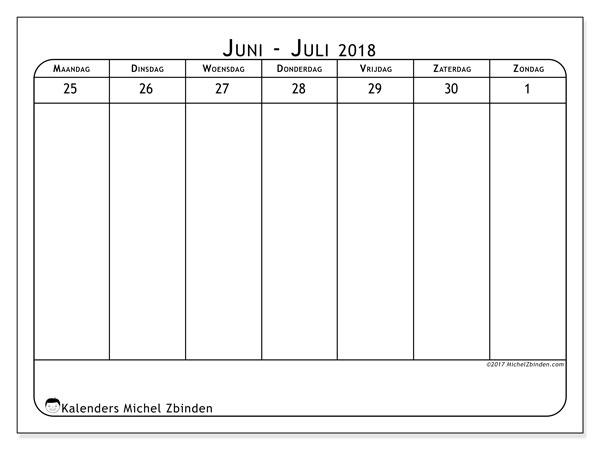 Kalender juni 2018 (43-5MZ). Kalender voor de week om gratis te printen.