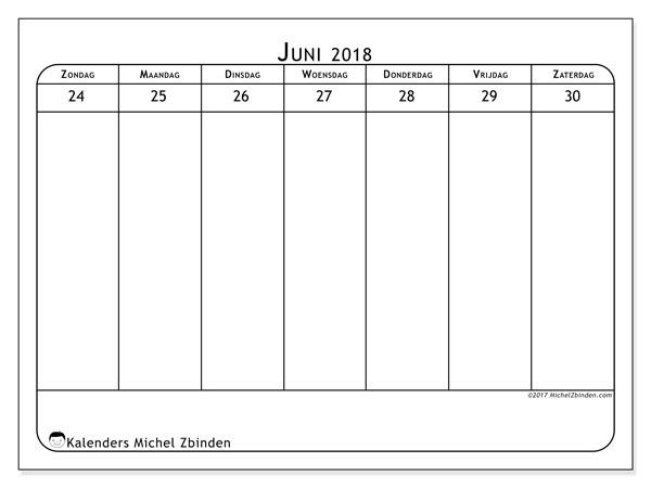 Kalender juni 2018 (43-5ZZ). Kalender voor de week om gratis te printen.