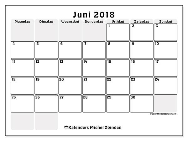 Kalender juni 2018 (44MZ). Kalender om gratis af te drukken.