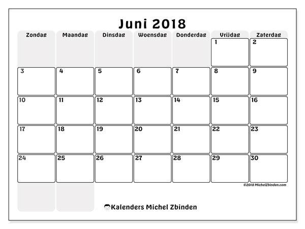 Kalender juni 2018 (44ZZ). Gratis afdrukbare kalender.