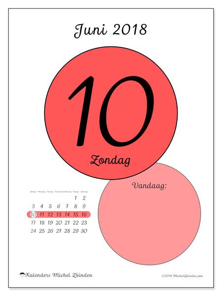 Kalender juni 2018 (45-10ZZ). Dagelijkse kalender om gratis te printen.