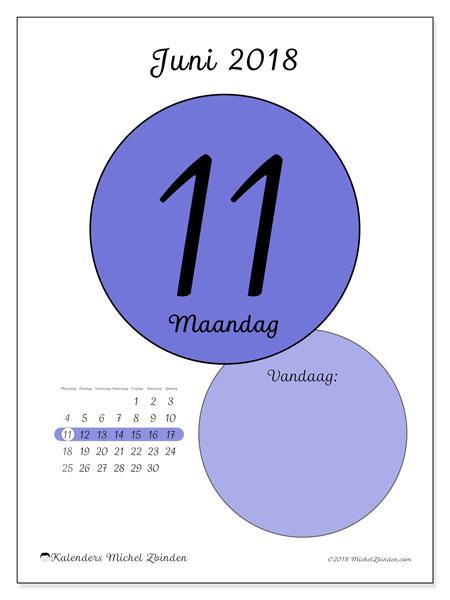 Kalender juni 2018 (45-11MZ). Kalender voor de dag om gratis te printen.