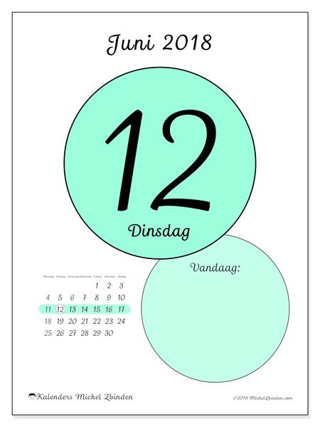 Kalender juni 2018 (45-12MZ). Dagelijkse kalender om gratis te printen.