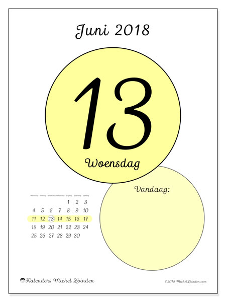 Kalender juni 2018 (45-13MZ). Dagelijkse kalender om gratis te printen.