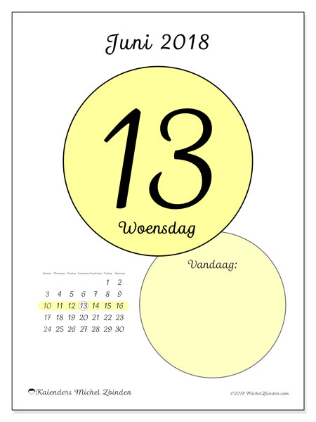 Kalender juni 2018 (45-13ZZ). Dagelijkse kalender om gratis te printen.
