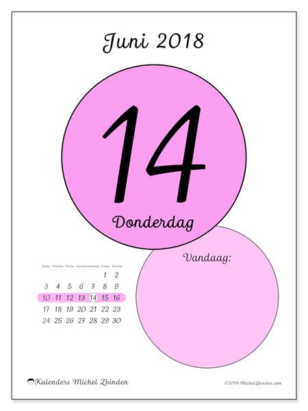 Kalender juni 2018 (45-14ZZ). Dagelijkse kalender om gratis te printen.