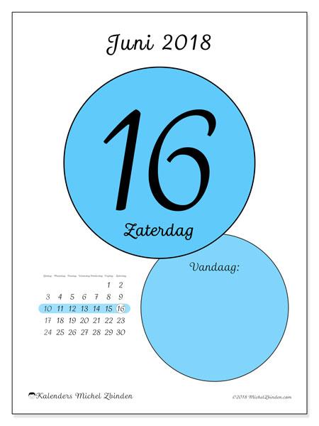 Kalender juni 2018 (45-16ZZ). Kalender voor de dag om gratis te printen.